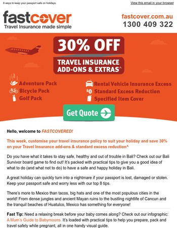 30% OFF Travel Insurance add-ons & extras^