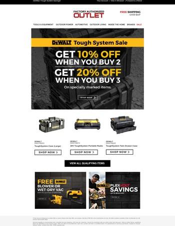 Save Up To 20% Off DeWALT Tools!