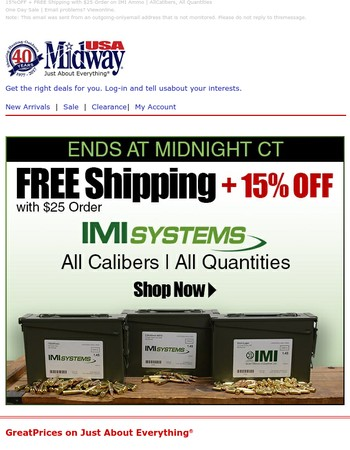 Ends at Midnight CT! 15% OFF + Free Shipping IMI Ammo: All Calibers, All Quantities with $25 Order