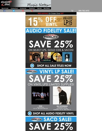 Hurry To Save 15% On Vinyl