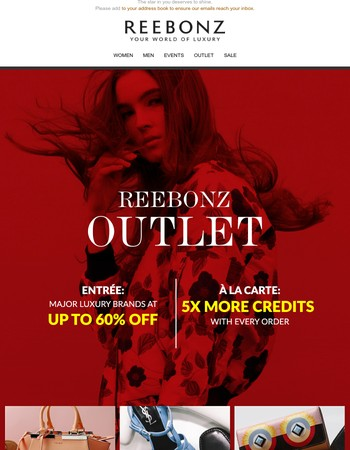 REEBONZ OUTLET: Up to 60% off Bally, Chloé & more.