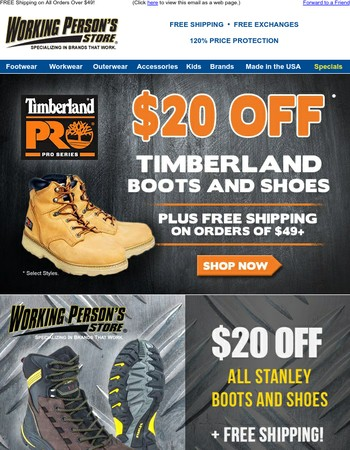 Take $20 Off Select Timberland Boots/Shoes + FREE Shipping!