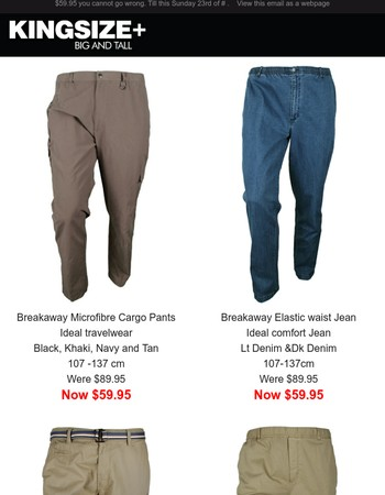 Big Discount Elastic waist Cargos, Chinos and Jeans