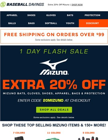Final Hours! Extra 20% Off Mizuno!