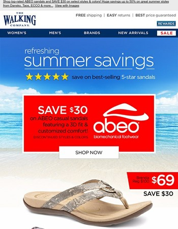 $30 OFF Five-Star Casual Sandals! | SAVE up to 50% on more summer styles...