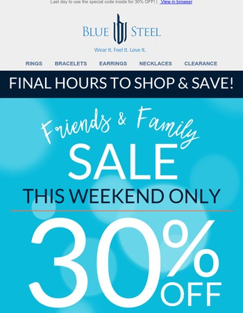 FINAL HOURS for 30% OFF!