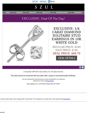 24 HOURS ONLY: 1/4 Carat Diamond Studs in White Gold - $68.79