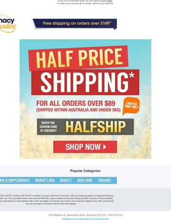 Offer Extended - Final week for Half Price Shipping!