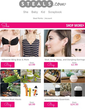 Adhesive Bras, Earrings, Kitchen Accessories & More in the Steals.com Weekly Wrap-Up