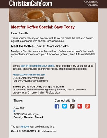 Meet for Coffee Special: Save over 28%
