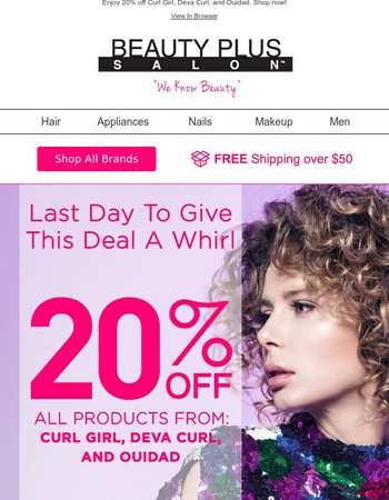 Last Day for 20% Off Curl Girl, Deva Curl, and Ouidad