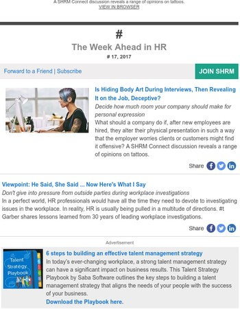 Is Hiding Body Art During Interviews Deceptive?, Lessons Learned from Workplace Investigations, more