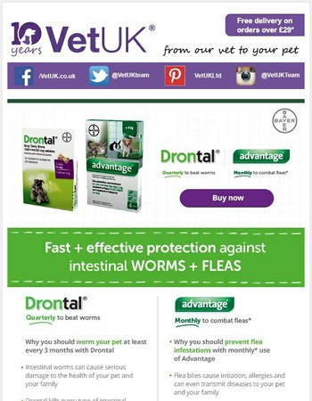 Drontal from £1.74 and Advantage from £9.01!