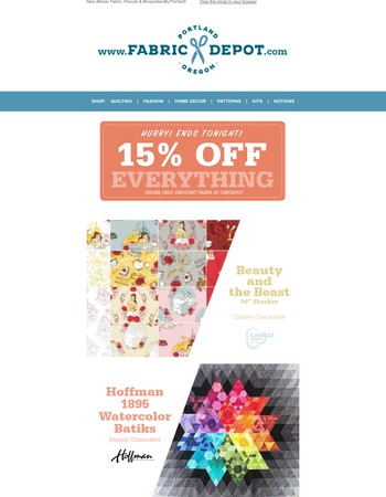 15% Off Everything ENDS TONIGHT!