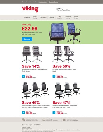 Chair sale: while stocks last
