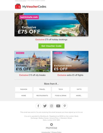 [Travel Alert] £75 Off Holiday Bookings