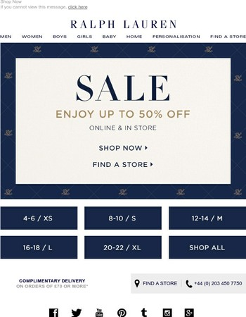 Shop by your Size in our Summer Sale | Up to 50% off Ralph Lauren