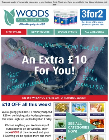 Hurry! £10 Off All Food Supplements!
