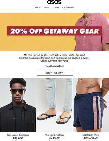 20% off your holiday (stuff, not flights soz)