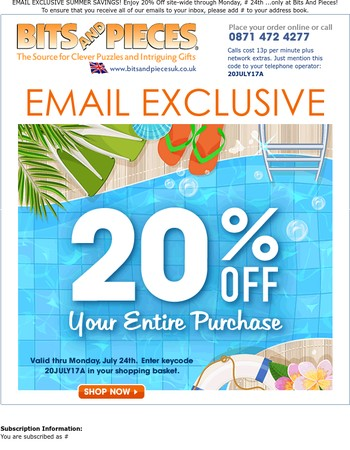 SUMMER Is Here - SAVE 20% On Everything