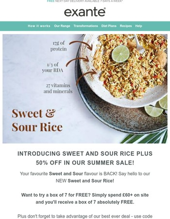 Introducing Sweet & Sour Rice | 50% off Summer SALE