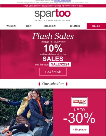 Up to 40% and a further 10% discount on Pikolinos, Clarks, Sperry Top-Sider, Art, Derhy, Vero Moda, Oakwood and Dakine: Flash Sales with Free Delivery!
