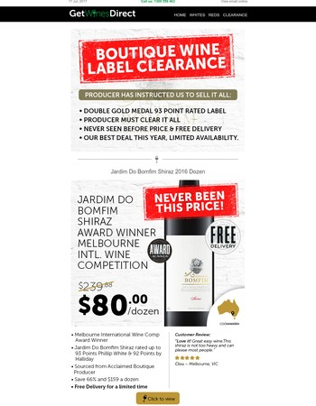 PRODUCER MUST CLEAR: Boutique Double Gold Label $80 Cases, Shiraz, Chardonnay, Cabernet.
