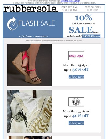 Up to 40% and a further 10% discount on Pare Gabia, Palladium, Pikolinos, Hudson and Kickers: Flash Sales with Free Delivery!