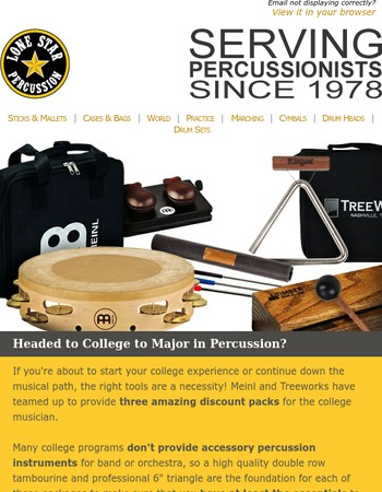 Y'all, Save $25 Or More On College Percussion Essentials