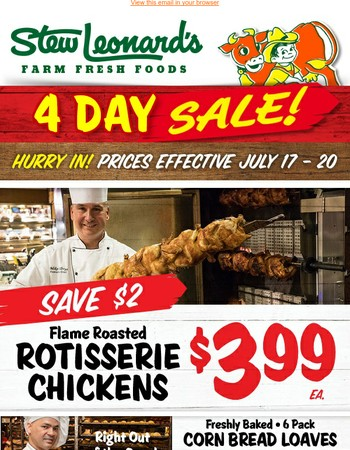 Save Big On 4 Day Specials!