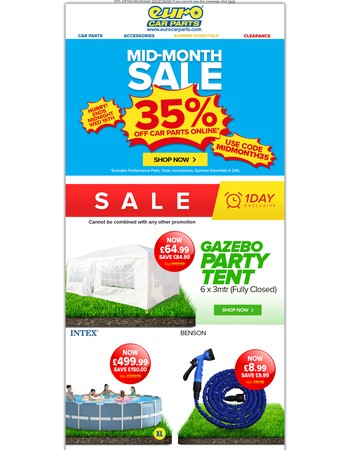 35% Off Car Parts - Garden Essentials, Tools & Valeting