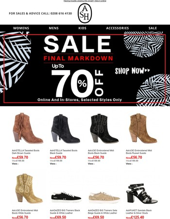 Hurry! Final Markdown | UP to 70% OFF while stocks last!