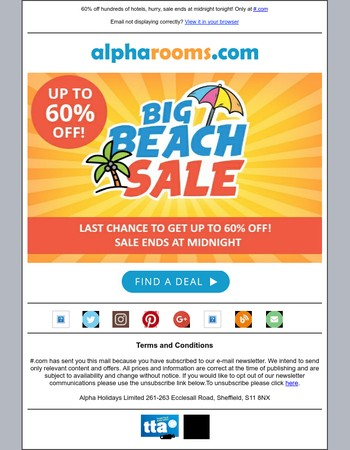Big Beach Sale - Offer Ends at Midnight Tonight!
