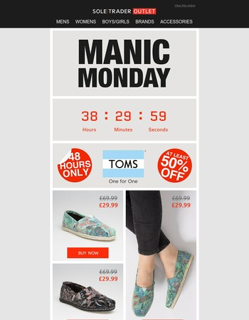 Flash Discount: 1/2 price TOMS