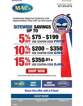Save Sitewide - Up To 15% Off!