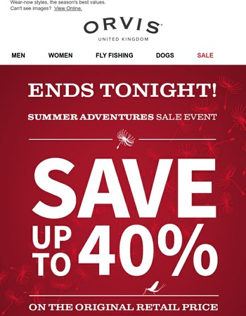 Ends Tonight: Save up to 40% at the Summer Adventures Sale.