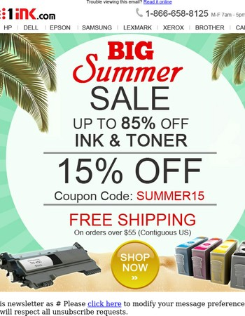 Summer Sale- 15% off your printer ink - coupon inside