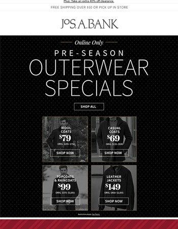 Pre-Season Outerwar Specials: $69 Casual Coats, $149 Leather Jackets & More!