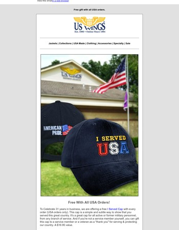 Free Gift With All USA Orders! To Celebrate 31 years in business