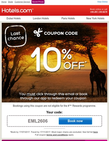 Your promo code is valid until midnight – book now!
