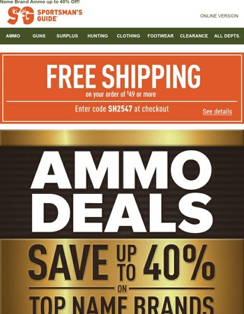 Ammo Deals + Free Shipping at $49!
