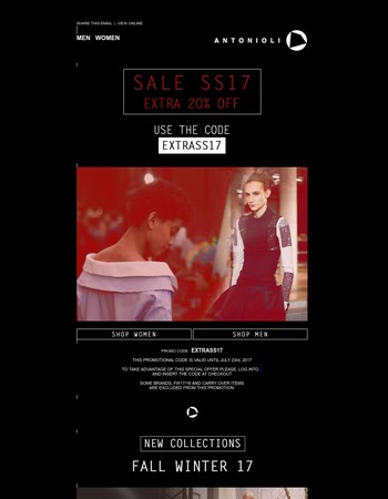Get Extra 20% Off on Sale SS17
