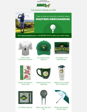 Take a look at recently marked down Masters Merchandise...