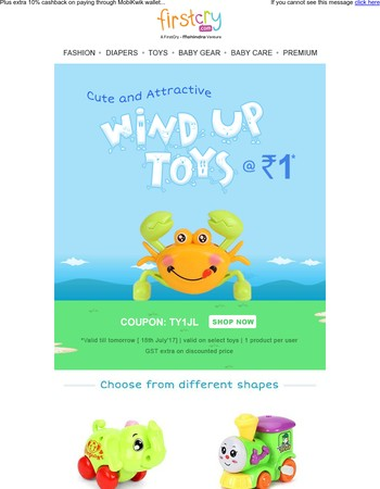 Wind-Up Toys @ Rs. 1 to develop your li'l one's skills