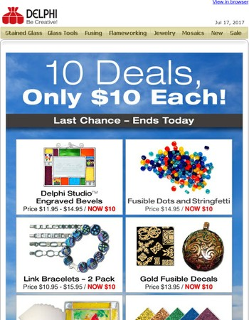 10 Deals, $10 Each - Only Hours Left