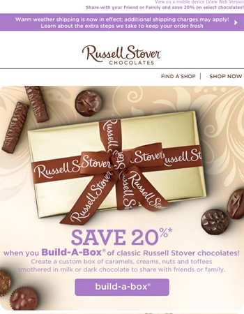 Share chocolates with your Friends and Family this Summer and Save 20%!