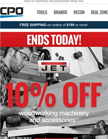 10% Off JET Woodworking Sale Ends Today!