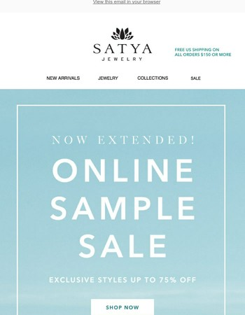 Surprise! Sample Sale Extended 24 hrs Only!