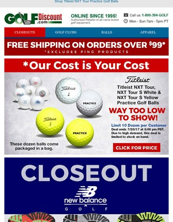 Our Cost is Your Cost: Titleist NXT Tour Practice Balls Priced Too Low to Show!
