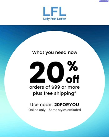 Save 20% + free shipping – online only!